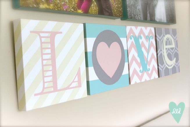 LOVE canvases by Polka Dots & Daisies. Featured on DesignLovesDetail.com! Check out this blog for links on where to buy + DIY tutorials.