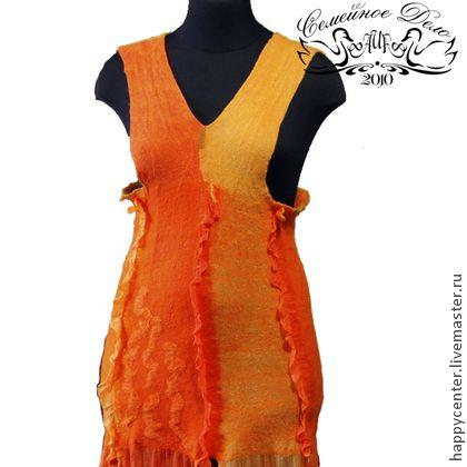 Сарафан валяный Nunofelting. - женская одежда,войлок,войлок ручной работы