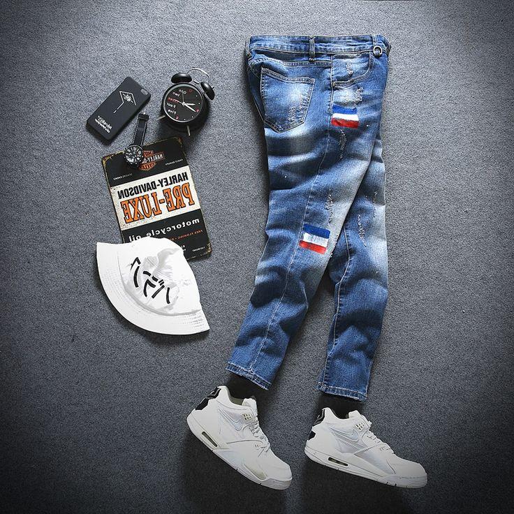 28.13$  Watch now - https://alitems.com/g/1e8d114494b01f4c715516525dc3e8/?i=5&ulp=https%3A%2F%2Fwww.aliexpress.com%2Fitem%2FFashion-2016-Elastic-Cotton-Jeans-Lovely-Flag-Jeans-Men-Ripped-Jeans-Legging-Pants-Joggers-Pencil-Distressed%2F32736150480.html - Fashion 2016  Elastic Cotton Jeans Lovely Flag Jeans Men Ripped Jeans Legging Pants Joggers Pencil Distressed Slim Jeans k014