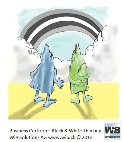 Business Cartoon Black & White Thinking by WiBi and WiB Solutions Switzerland. Check for more on management thinking mistakes at www.managementthinkingmistakes.ch