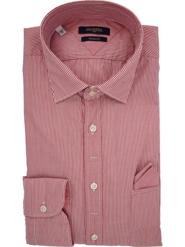 DELSIENA Men's shirt in red and white striped fabric with pocket on chest
