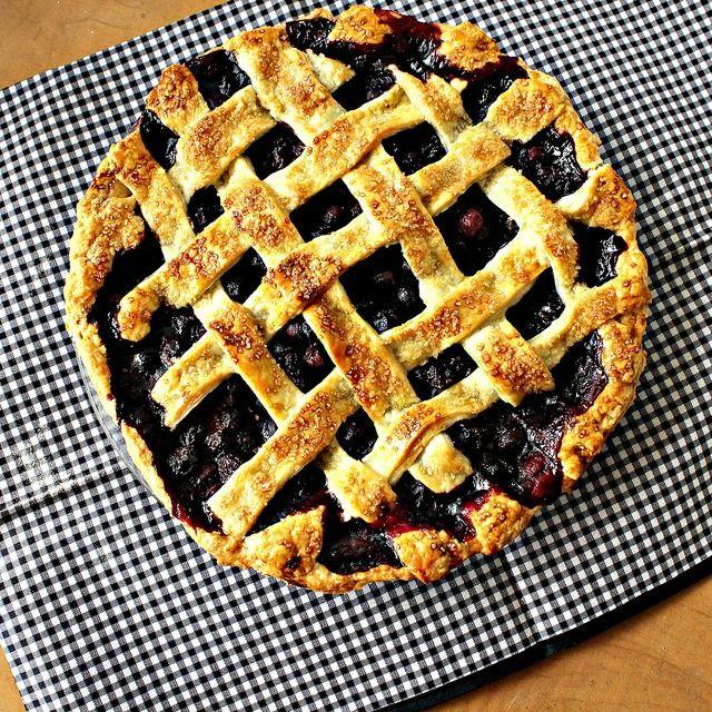 lattice-topped blueberry pie