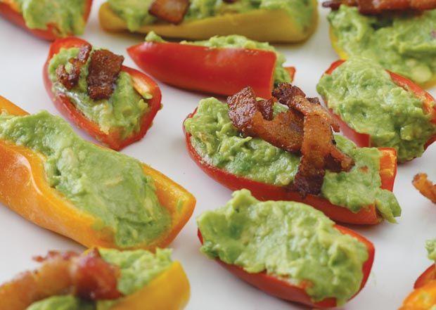 Guacamole Bacon Stuffed Pepper Poppers #HealthBent