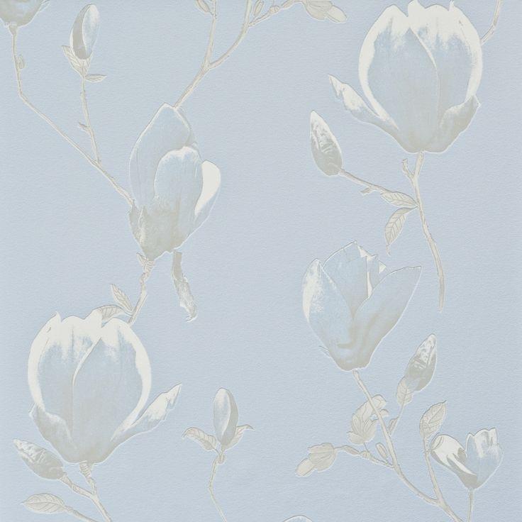 Blue wallpaper / Blauw behang Fleurie 48387 - BN Wallcoverings