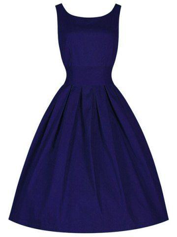 Vintage Scoop Collar Sleeveless Solid Color Women's Midi Dress Vintage Dresses   RoseGal.com Mobile