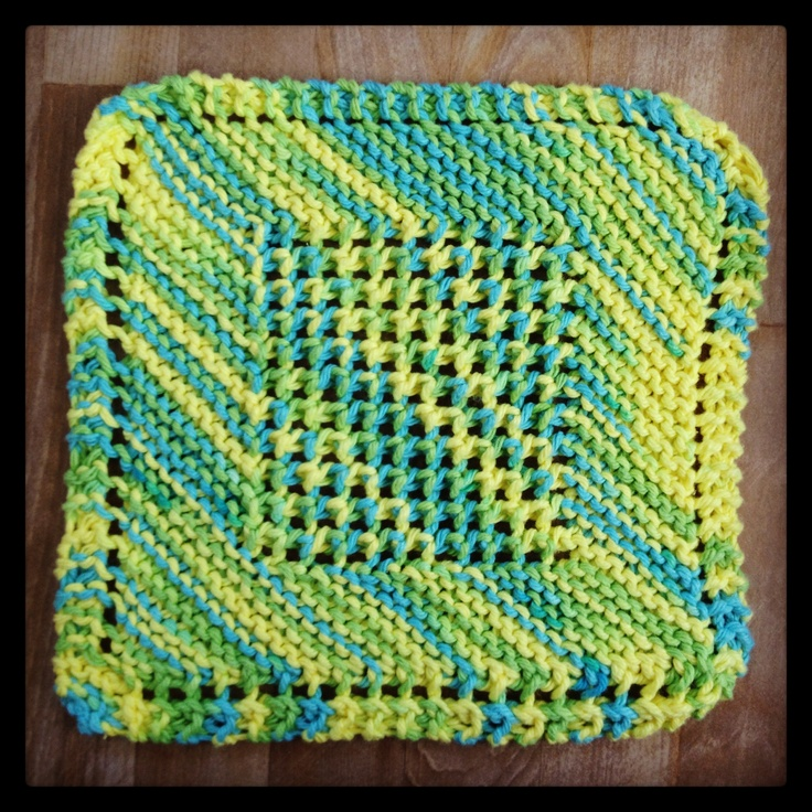Free Crochet Pattern For Diagonal Dishcloth : 1000+ images about knit dishcloths on Pinterest ...