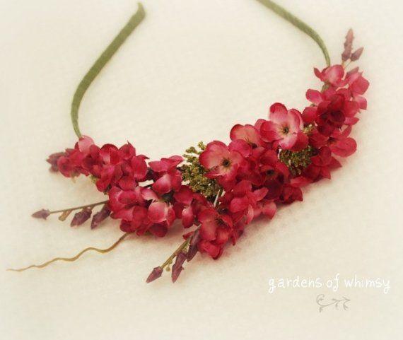 Fascia floreale corona di fiori rosa accessori di gardensofwhimsy