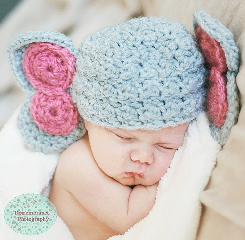 GIRL ELEPHANT - Little baby will look adorable and be cozy too wearing his baby Elephant hat! Photography courtesy of: http://www.facebook.com/pages/Remembrance-Photography/201808194416Pattern from Speckled Frog Crochet: http://www.etsy.com/shop/speckledfrogcrochet
