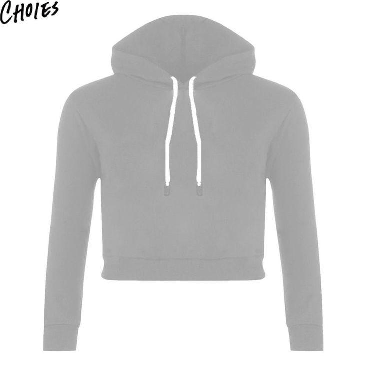 Women 6 Colors Drawstring Long Sleeve Plain Casual Sexy Cropped Hoodies Fashion New Cotton Short Sweatshirt Brief Clothing