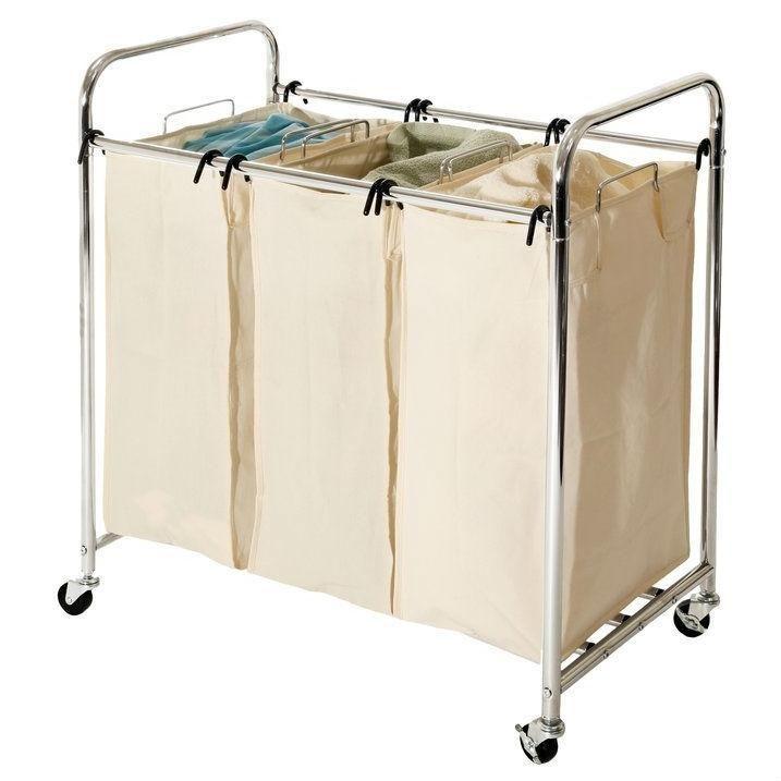 Commercial Grade Steel Frame 3 Bag Laundry Hamper Cart Laundry