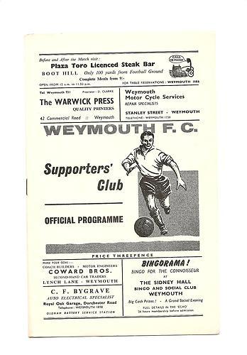 Away to Weymouth F.C  1965/66
