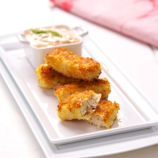 Fish Sticks with Twisted Tartar Sauce. Panko crumbs and Parmesan cheese make a tasty breading for DIY fish sticks. Yes!