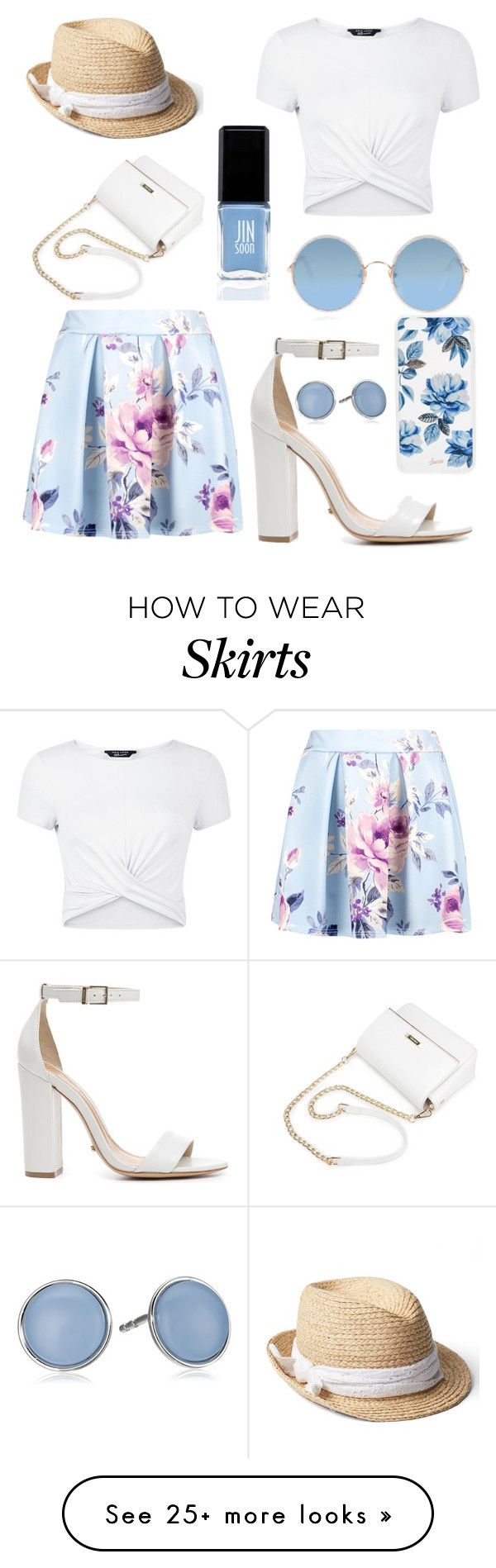 """Floral skirt"" by emma-rouget on Polyvore featuring New Look, Schutz, Gap, Sunday Somewhere, Skagen, JINsoon, Sonix, floralprint and Floralskirts"