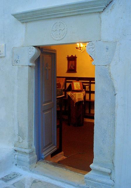 Old little church in Naoussa, Paros island Greece.