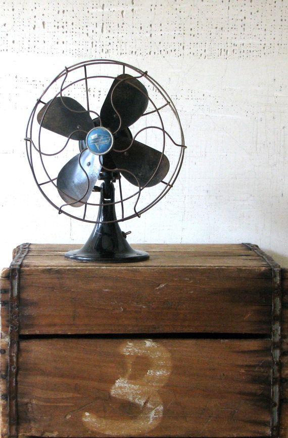 vintage black fan  emerson electric  modern by tribute212 on Etsy, $42.00