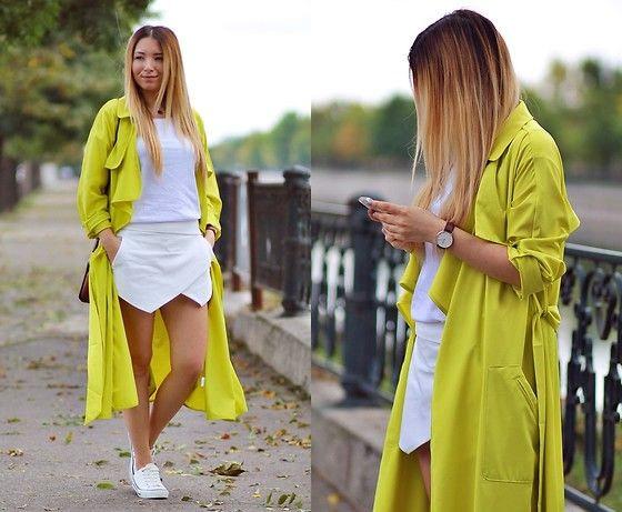 Get this look: http://lb.nu/look/7793396  More looks by Andreea  Ristea: http://lb.nu/andreeadesign  Items in this look:  Sheinside Yellow Long Sleeve Pockets Trench Coat, White Basic T Shirt, Zara Asymmetrical Shorts, Daniel Wellington Classic St. Mawes Watch   #casual #chic #street