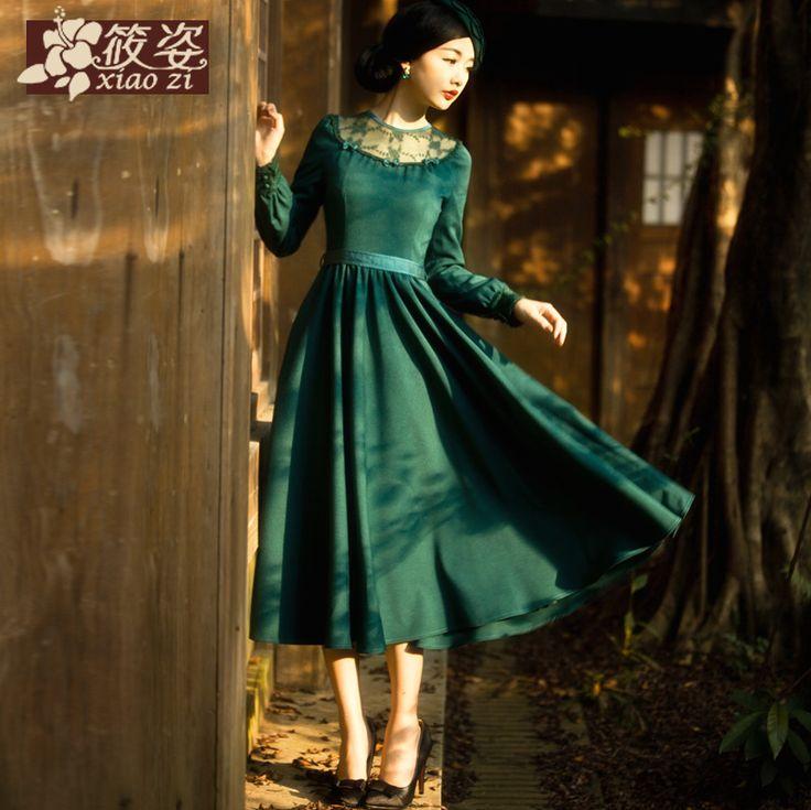 Xiaozi Qiu Hong lună 2015 de modele de primăvară dantelă cu mâneci lungi rochie retro mare rochie leagăn literar