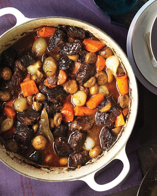 Beef Bourguignon.: Food Recipes, Julia Child, Hearti French, Bourguignon Recipes, Beef Bourguignon, French Stew, Dinners, Comforter Food, Martha Stewart