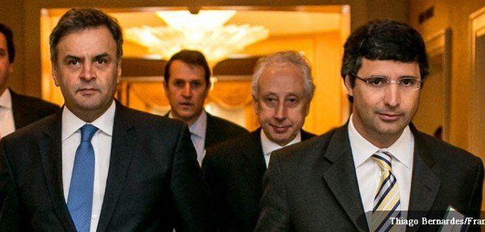 Aécio Neves e o banqueiro André Esteves, preso na Lava Jato nesta quarta-feira com o senador Delcídio Amaral