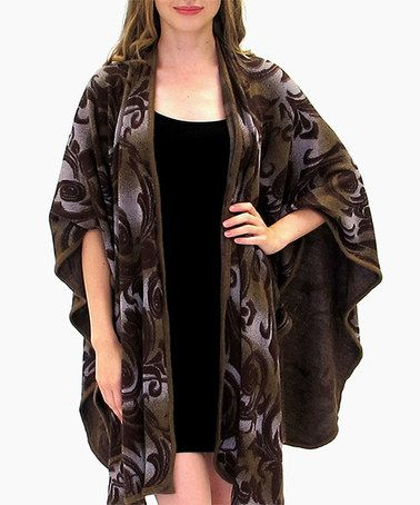 Have to get this....I LOVE IT Loving this Brown Floral Cape-Sleeve Open Cardigan - Plus on #zulily! #zulilyfinds