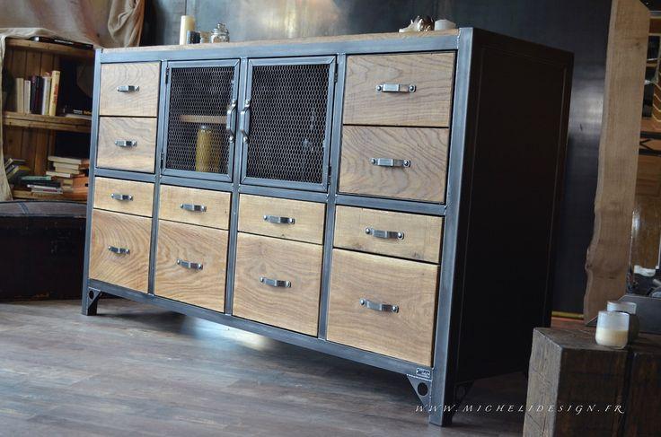 Buffet industriel 8 tiroirs 4 portes - Esprit Campagne chic : Meubles et rangements par micheli-design
