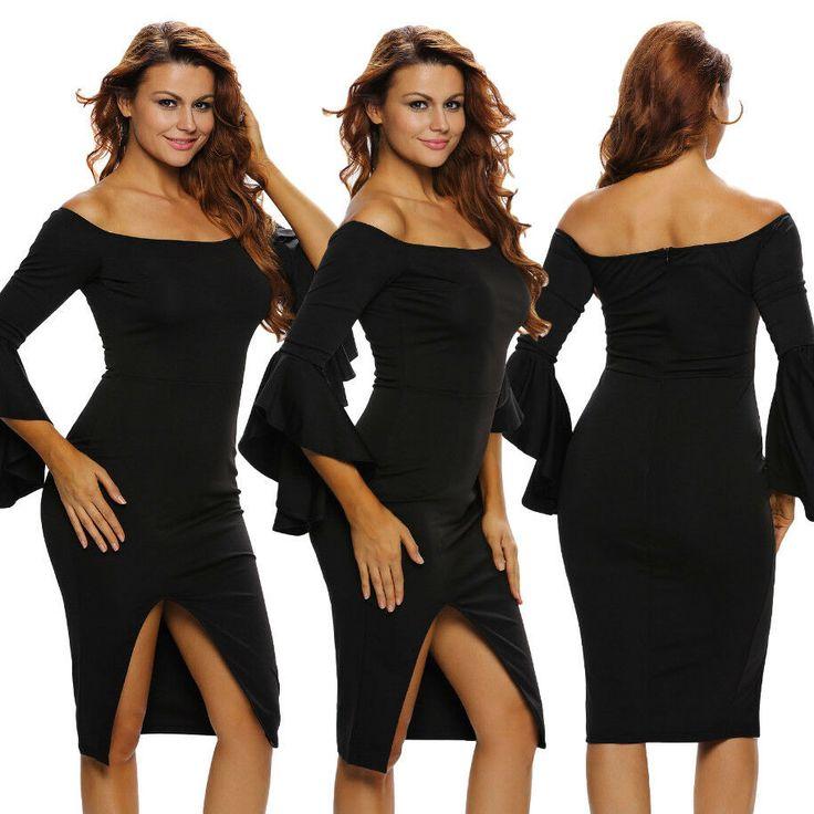 Vestito elegante nero donna sexy abito cerimonia manica lunga aderente DS61257  …