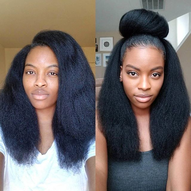 """By @naturallynella ✨ """"Pic of the left is before trim and pic on the right is after trim.     #voiceofhair voiceofhair.com"""