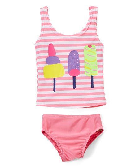 Sweet & Soft Pink Stripe Ice Cream Tankini - Infant & Toddler | zulily