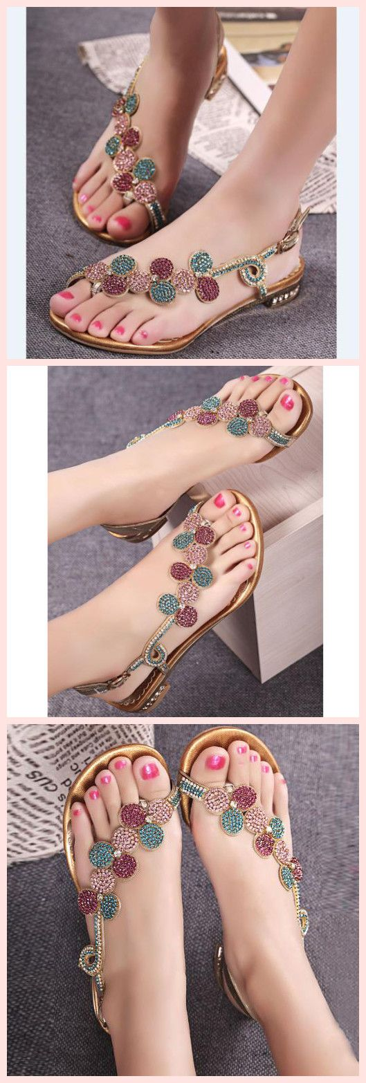 Amazing Shining Flat Sandals with Rhinestone Flower #sandals #shoespiereviews #beauty #girls