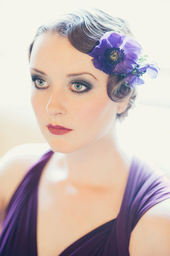 Finger Curls and Flowers in her Hair ~ Glamorous Styling Inspiration for Brides and Bridesmaids...