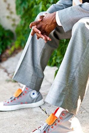 Orange and grey Converse groom shoes