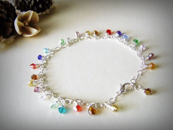 anklet multi-color crystal handmade ankle bracelet sterling silver from zSwBizuteria etsy store: $18