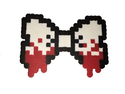 Bloody Perler Bow by EeriePixels on Etsy
