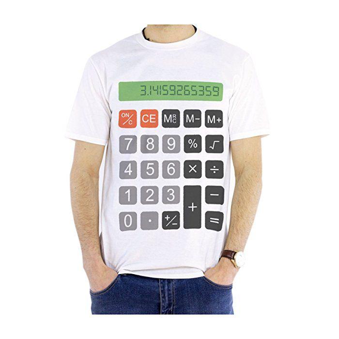 NEW - calculador con soporte para notas - para hombre blanca de algodón de T-camiseta de manga corta - Diseño de muñeco con auriculares de regalo con texto en inglés y matemáticas de Navidad