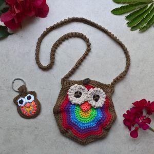 handmade crochet purse and key-ring, gift