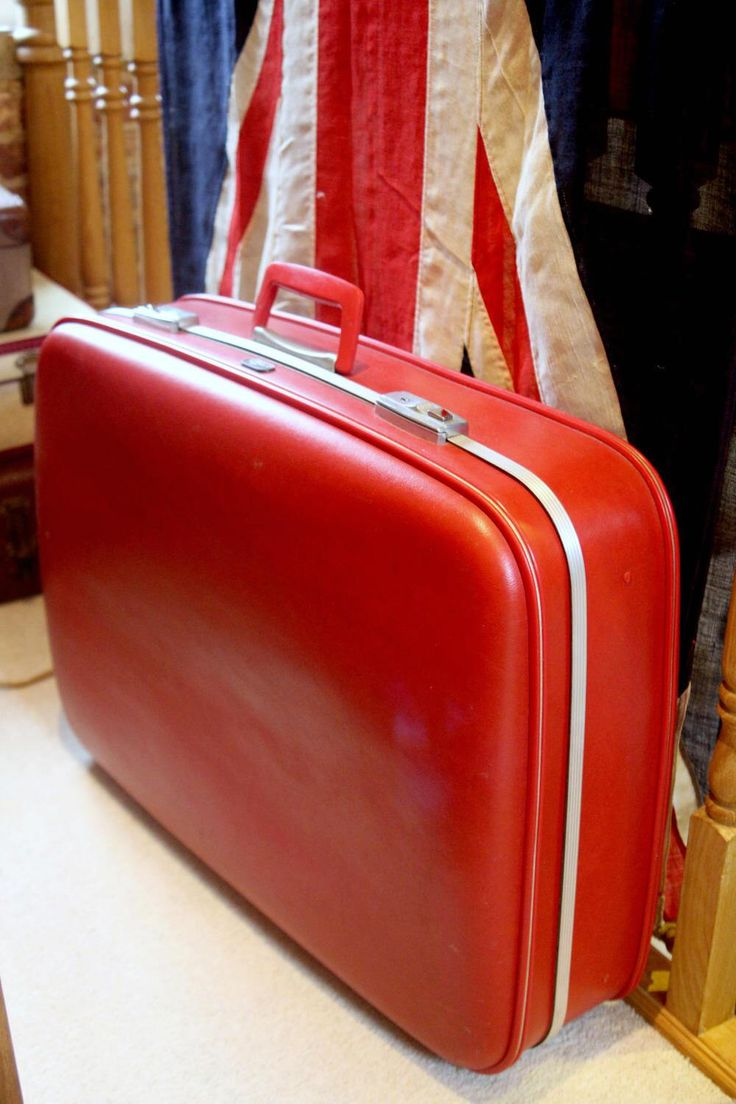 Fire Engine Red Large Early 70s Suitcase By Crown by WhiteRabbitVintageGB on Etsy https://www.etsy.com/uk/listing/518869257/fire-engine-red-large-early-70s-suitcase