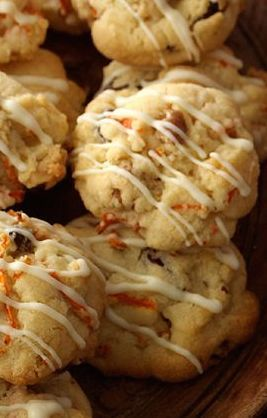 Carrot Cake Drop Cookies Recipe ~ Crunchy on the outside, soft on the inside