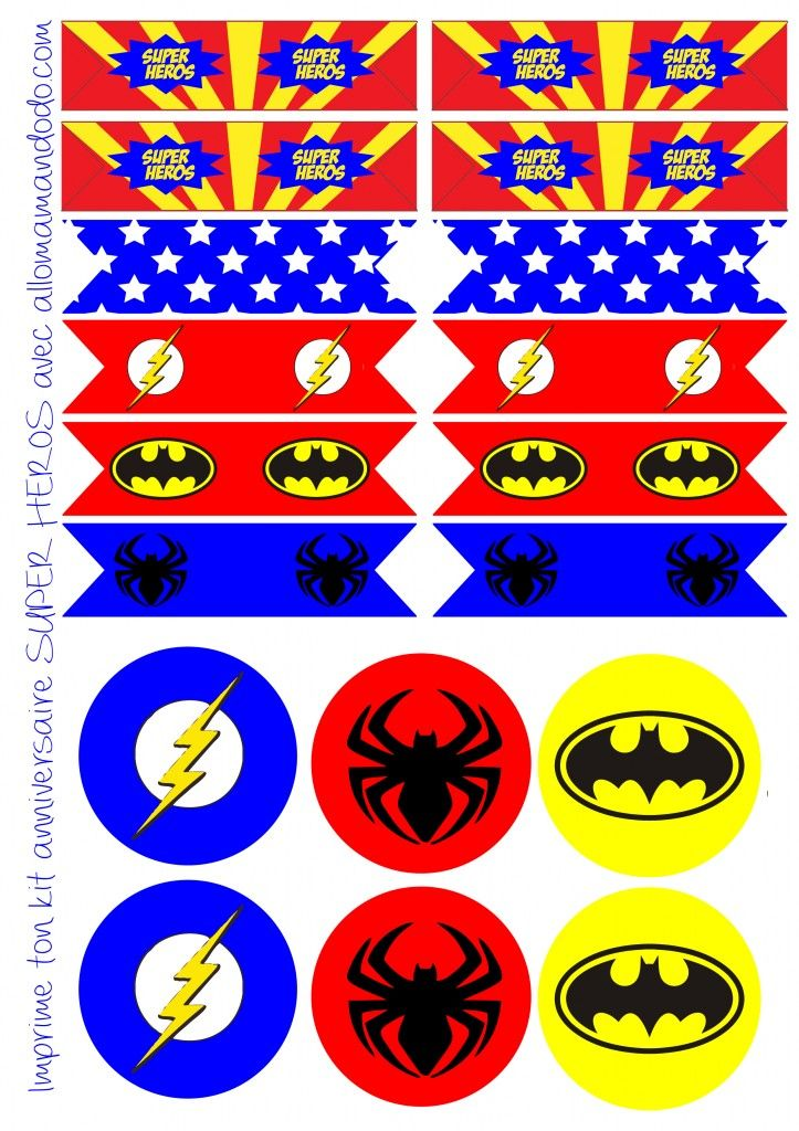 etiquettes anniversaire super héros flag topper décoration anniversaire super héros fanion imprimer free printable  http://allomamandodo.com/anniversaire-de-super-heros-deco-sweet-table-kit-imprimer-en-cadeau/