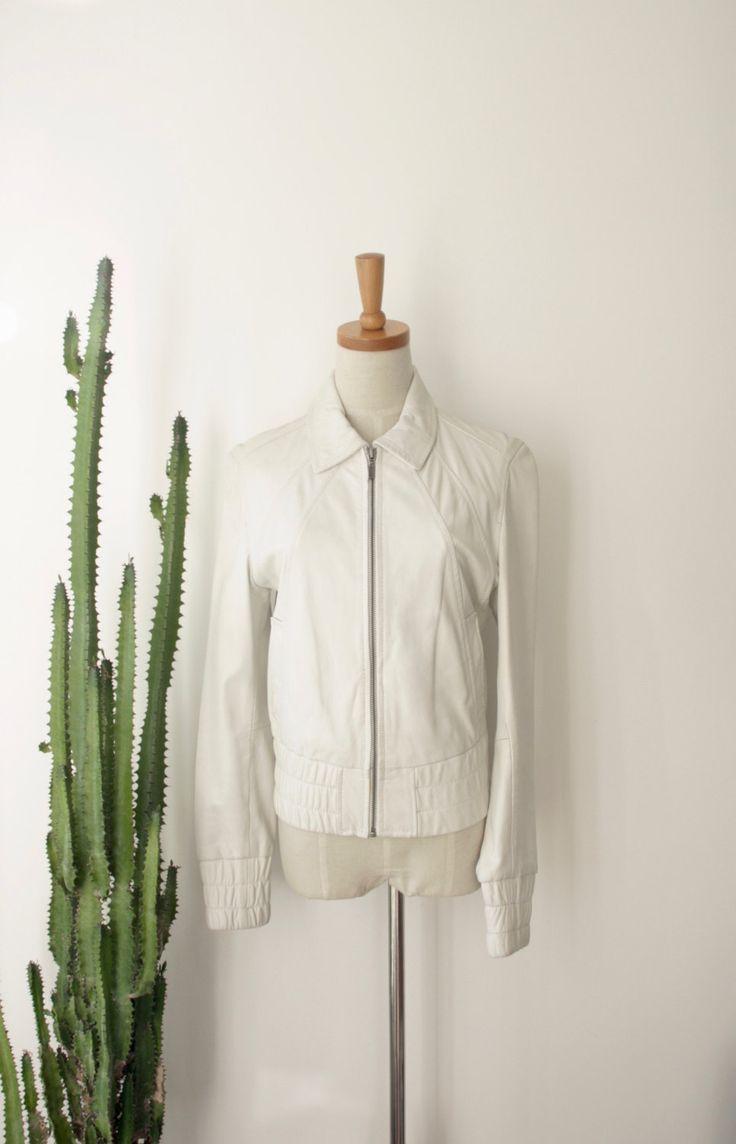 90s White leather Motorcycle jacket. Genuine leather jacket. Ivory zip up leather jacket. Size s - m by ForestHillTradingCo on Etsy