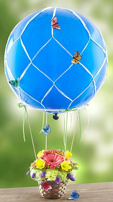 Butterfly hot air balloon arrangement flower