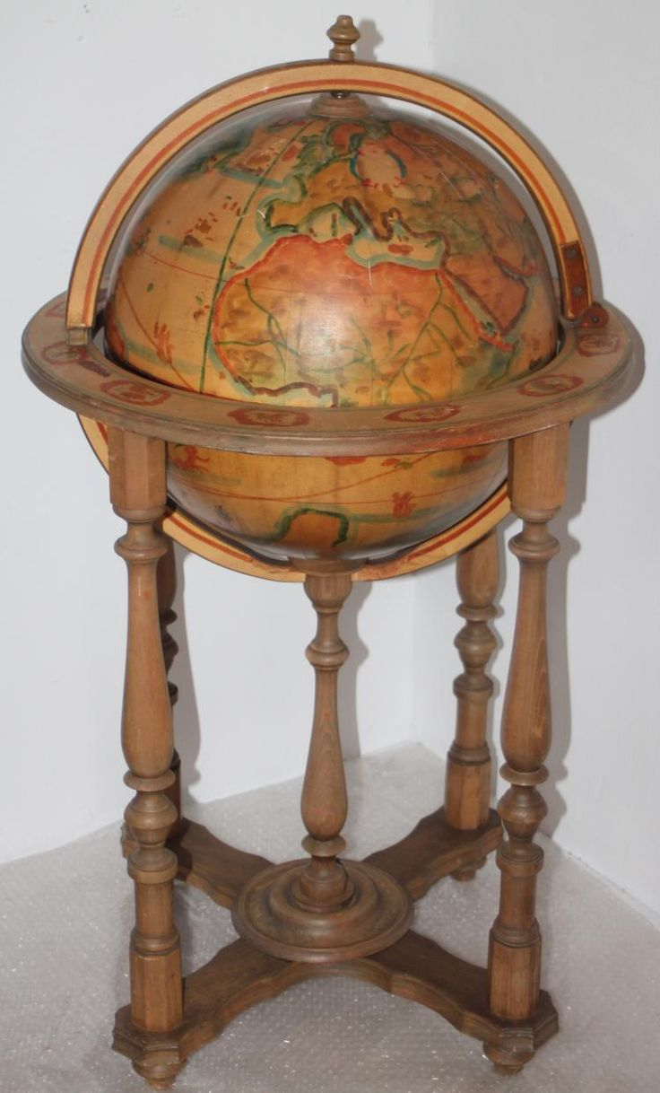 folk art decorated floor globe liquor cabinet bar
