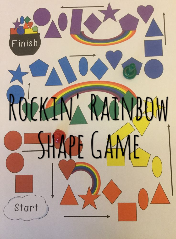 Rockin' Rainbow Shape Game if a fun and engaging math game for grades K-3. Students practice naming 2D shapes.