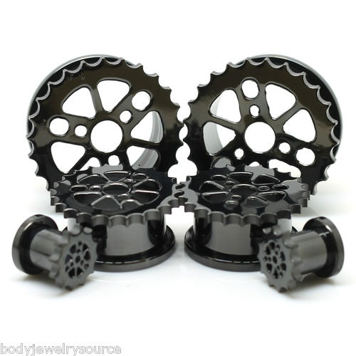 Sprocket Blackline Screw Fit Flesh Tunnels Ear Gauge Plugs Sold in A Pair | eBay