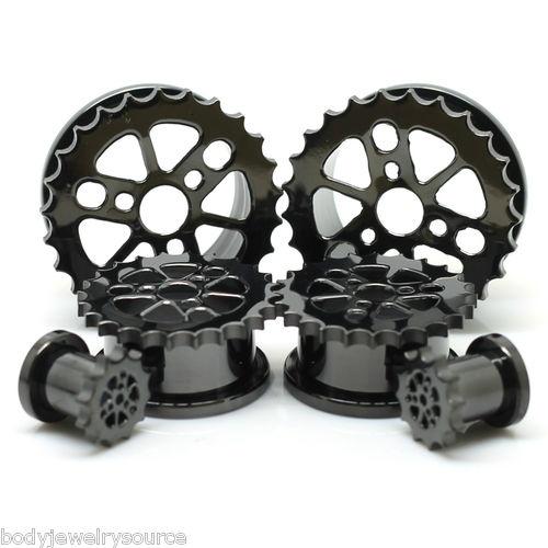 Sprocket Blackline Screw Fit Flesh Tunnels Ear Gauge Plugs Sold in A Pair | eBay