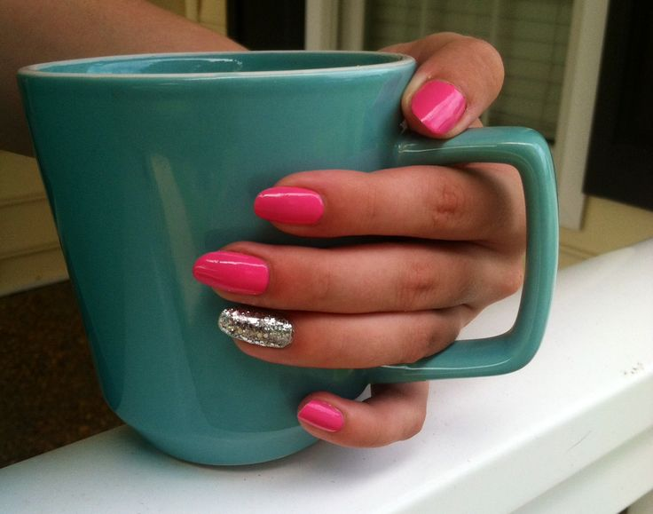 Sally Hansen Miracle Gel - Shock Wave  love this bubblegum pink! so girly and cute.   pink and silver glitter nails