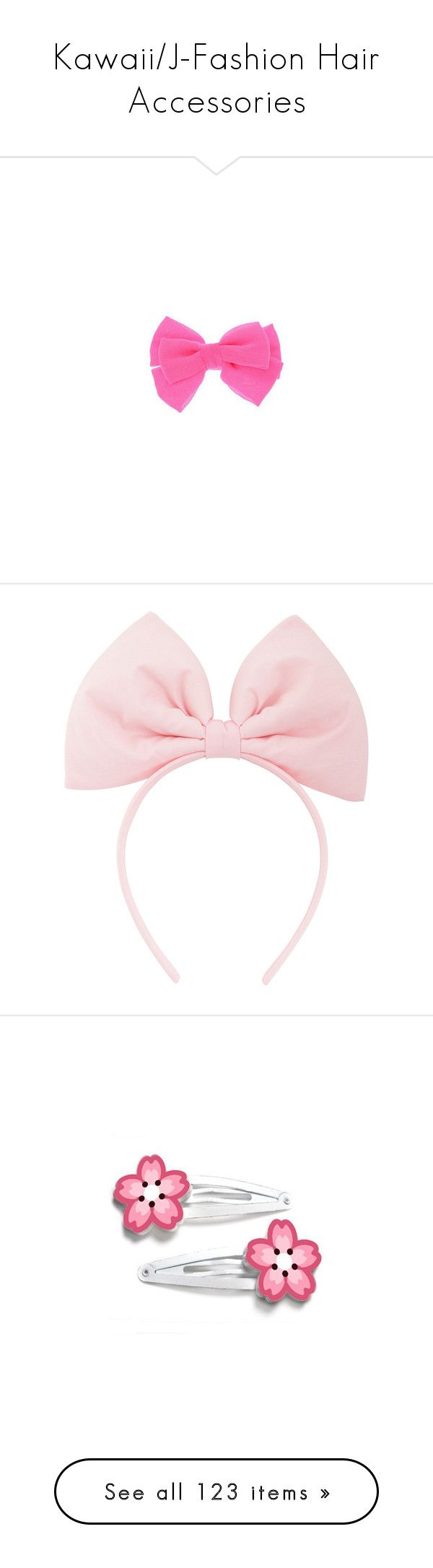 """""""Kawaii/J-Fashion Hair Accessories"""" by plancaiman ❤ liked on Polyvore featuring accessories, hair accessories, bow hair accessories, bow, headbands, bow hairband, hair band accessories, headband hair accessories, pink hair accessories and head wrap headbands"""