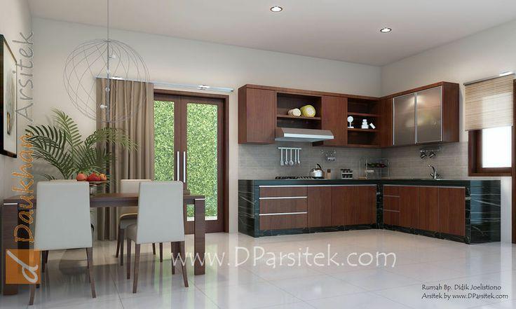 sketsa 3d ruang makan dan dapur desain rumah di kota