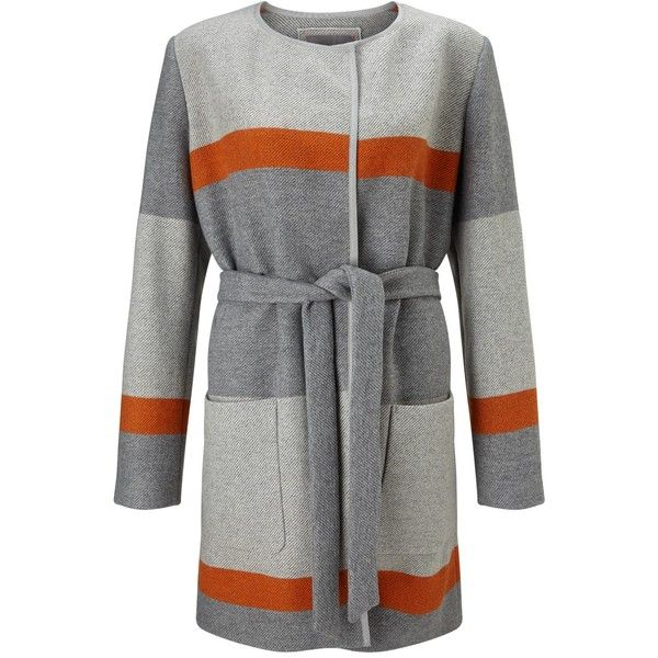 BOSS Orange Origa Stripe Belted Wrap Coat, Grey ($310) ❤ liked on Polyvore featuring outerwear, coats, gray coat, long wool coats, wool coat, long sleeve coat and grey coat