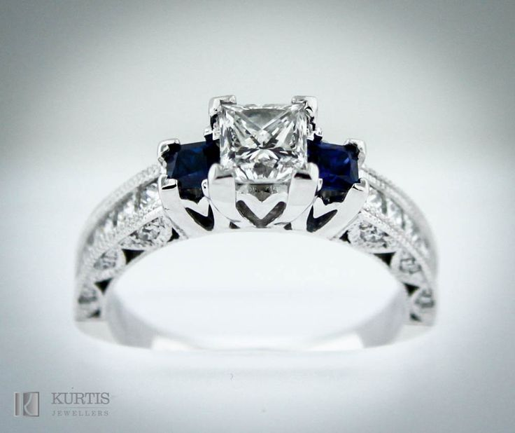 Diamond and Sapphire Ring. White Gold and Diamonds. Princes cut diamonds and sapphires in a beautiful setting. www.kurtisjewellers.com