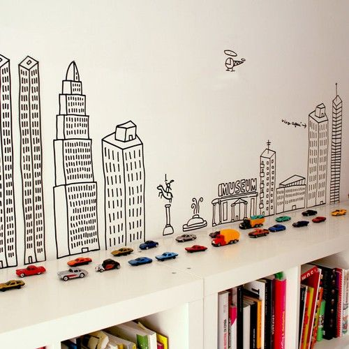 **INSPIRATION!!** What if you did this idea on a wall in a kids' room, and affixed the cars to the wall? OOH! don't they have magnetic paint now? What if you painted the roads, on the wall, in magnetic paint, and the cars would stick to them?? GAAAH awesome!!